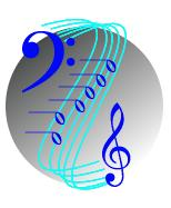 logo: sphere, treble clef, bass clef, notes